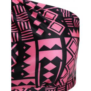 Plus Size Keyhole High Waisted Two Piece Swinsuit - BLACK AND PINK 3XL