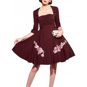 Belted Flower Patchwork Flare Dress - WINE RED XL