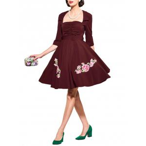 Belted Flower Patchwork Flare Dress - WINE RED 2XL