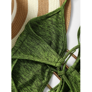 Plunge Lace Up Monokini - ARMY GREEN S