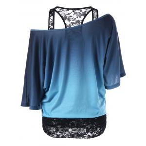 Lace Panel Skew Collar Tree Print T-Shirt - BLUE/BLACK M