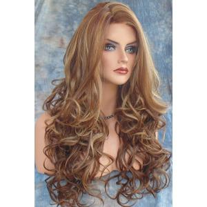 Stunning Dark Brown Mixed Light Blonde Capless Fluffy Curly Side Parting Long Synthetic Wig For Women -