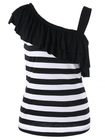 Store Overlay One Shoulder Striped T-Shirt