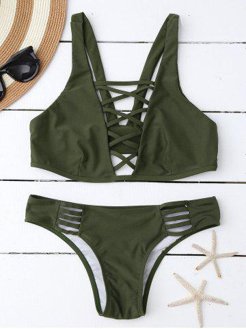 Shops Lace Up Plunging Neck Bikini ARMY GREEN L