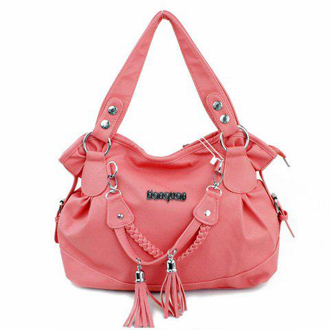 Fancy Casual Tassels and Solid Color Design Women's Shoulder Bag - WATERMELON RED  Mobile