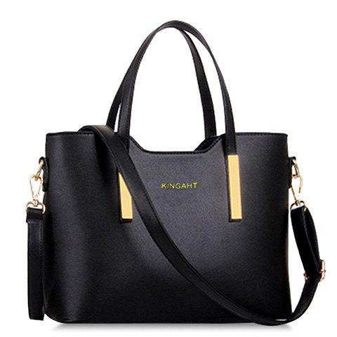 Fashion Stunning Metallic and Solid Color Design Women's Tote Bag BLACK