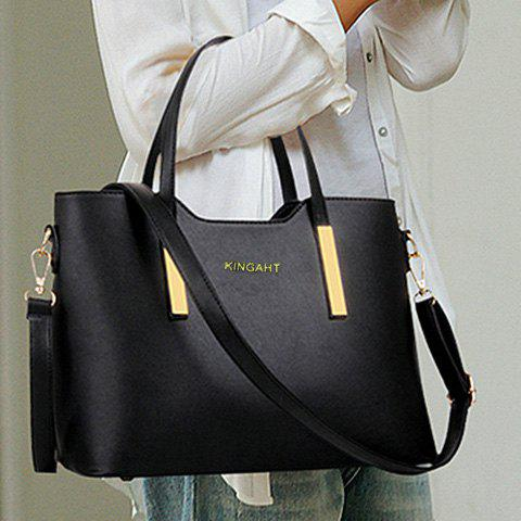 Cheap Stunning Metallic and Solid Color Design Women's Tote Bag - BLACK  Mobile