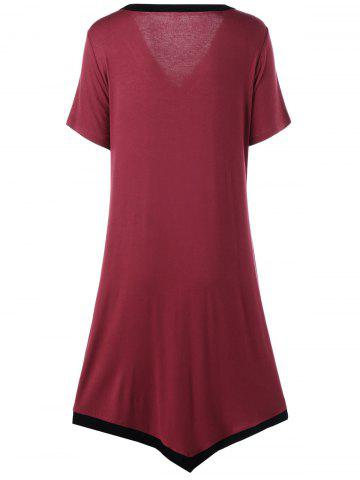 Best Asymmetric Ringer Plus Size T-Shirt Casual Dress - 2XL RED WITH BLACK Mobile
