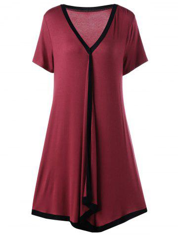 Asymmetric Ringer Plus Size T-Shirt Casual Dress - Red With Black - 4xl
