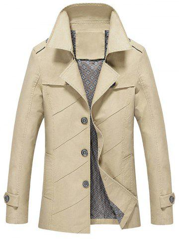 Cheap Slim Fit Lapel Collar Jacket LIGHT KHAKI 4XL