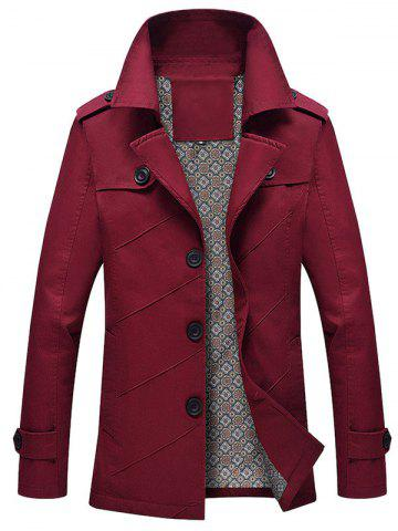 Buy Slim Fit Lapel Collar Jacket - 2XL WINE RED Mobile