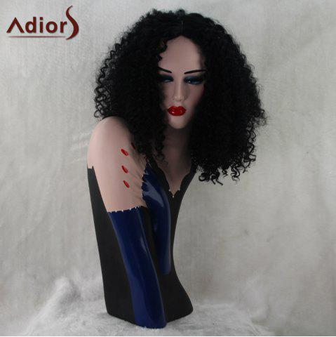 Hot Adiors Medium Synthetic Middle Part Afro Curly Wig - BLACK  Mobile