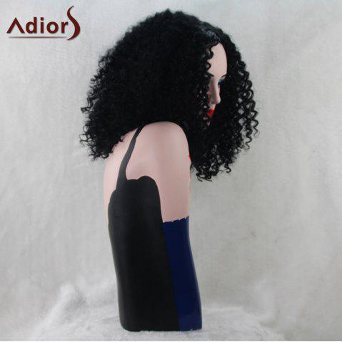Online Adiors Medium Synthetic Middle Part Afro Curly Wig - BLACK  Mobile