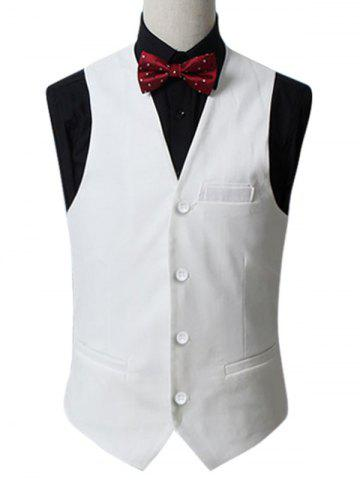 Slim Fit Button Up Waistcoat Formal Blanc 5XL