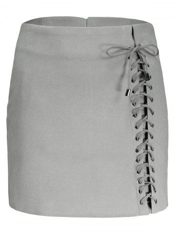 Best Faux Suede Lace Up Skirt GRAY L