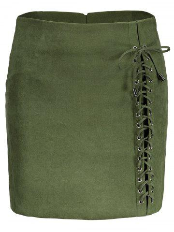 Online Faux Suede Lace Up Skirt GREEN 2XL