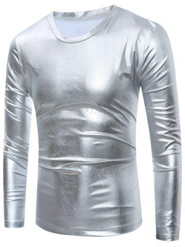 New Long Sleeve Metallic T-Shirt - S SILVER Mobile