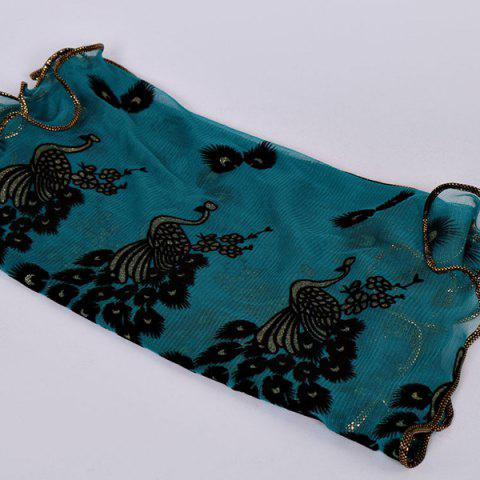 Store Fine Gauze Peacock Floral Embroidery Chiffon Scarf - CYAN  Mobile