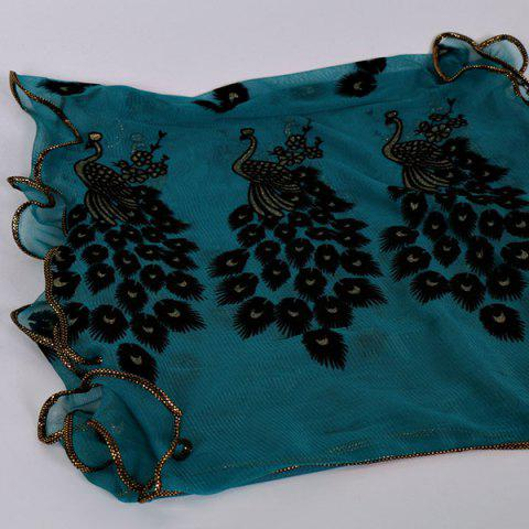 Buy Fine Gauze Peacock Floral Embroidery Chiffon Scarf - CYAN  Mobile