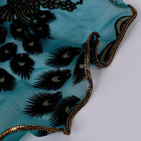 Unique Fine Gauze Peacock Floral Embroidery Chiffon Scarf - CYAN  Mobile