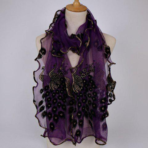 Latest Fine Gauze Peacock Floral Embroidery Chiffon Scarf - DEEP PURPLE  Mobile