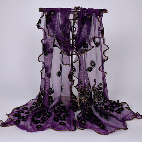Fashion Fine Gauze Peacock Floral Embroidery Chiffon Scarf - DEEP PURPLE  Mobile