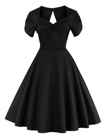 Online Vintage Cut Out Swing Pin Up Flare Dress BLACK 2XL
