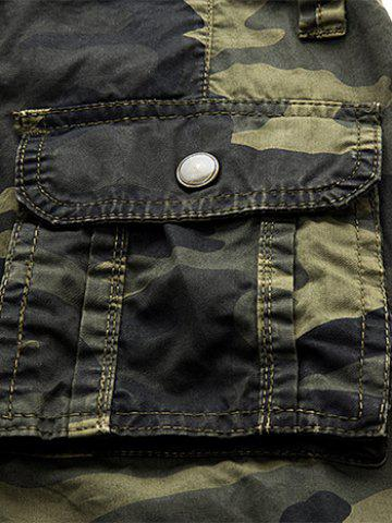 Outfit Multi Pockets Camo Cargo Shorts - 32 GRAY WHITE CAMOUFLAGE Mobile