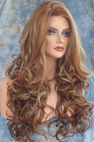 Discount Stunning Dark Brown Mixed Light Blonde Capless Fluffy Curly Side Parting Long Synthetic Wig For Women - COLORMIX  Mobile