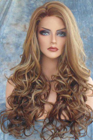 Chic Stunning Dark Brown Mixed Light Blonde Capless Fluffy Curly Side Parting Long Synthetic Wig For Women COLORMIX