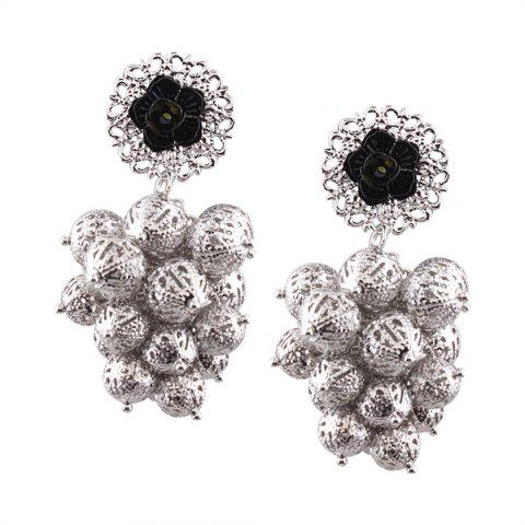 Alloy Ball Engraved Flower Drop Earrings - Silver