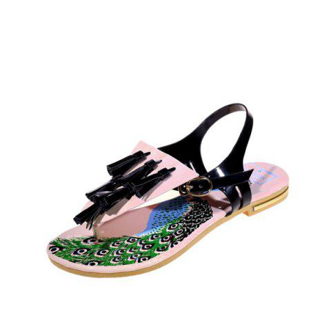 Latest Patent Leather Tassels Sandals