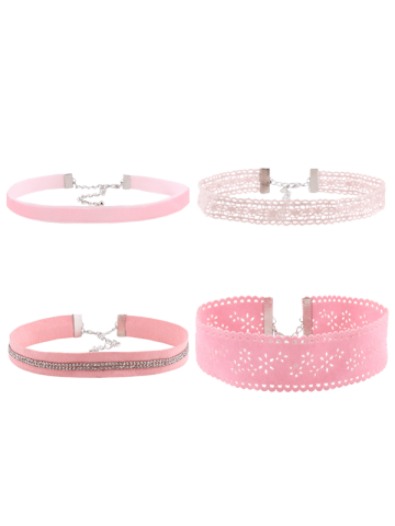 Fancy Rhinestoned Lace Velvet Choker Necklace Set PINK