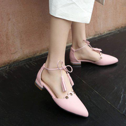 Discount Eyelets Tassels Lace Up Ballet Flats - 37 PINK Mobile