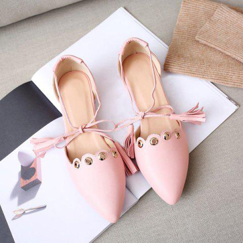 Outfits Eyelets Tassels Lace Up Ballet Flats - 37 PINK Mobile
