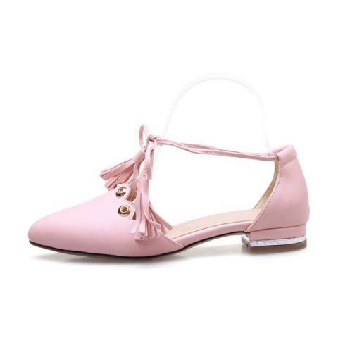 Fashion Eyelets Tassels Lace Up Ballet Flats - 37 PINK Mobile