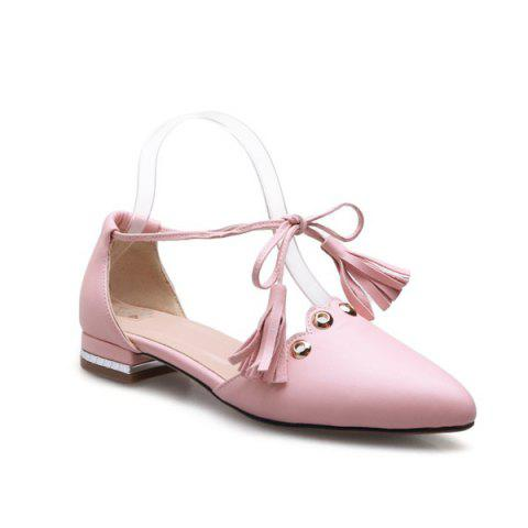 Sale Eyelets Tassels Lace Up Ballet Flats - 37 PINK Mobile