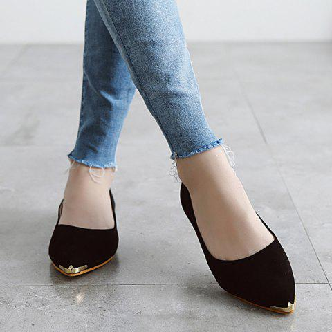 Outfits Metal Toe Slip On Flat Shoes - 37 BLACK Mobile
