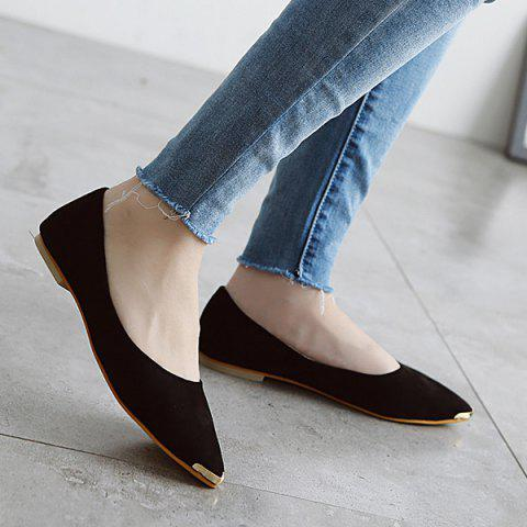 Metal Toe Slip On Flat Shoes - Black - 39