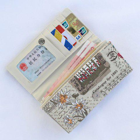 Latest Flap Printed Canvas Wallet - GREY WHITE  Mobile