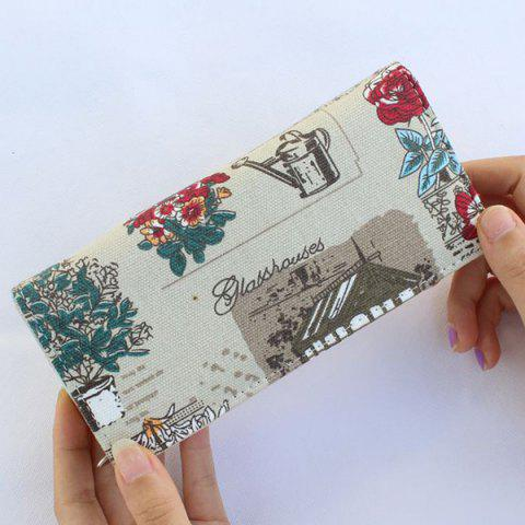 Outfit Flap Printed Canvas Wallet - GREY WHITE  Mobile