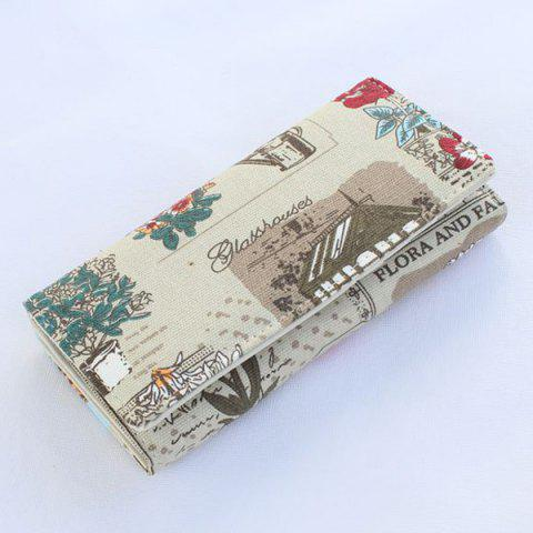 Affordable Flap Printed Canvas Wallet - GREY WHITE  Mobile