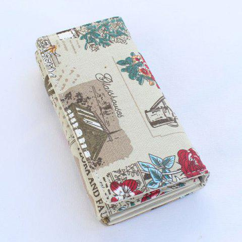Fancy Flap Printed Canvas Wallet - GREY WHITE  Mobile
