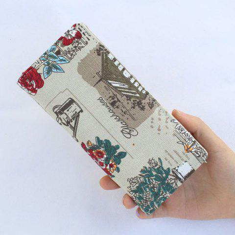 Buy Flap Printed Canvas Wallet - GREY WHITE  Mobile