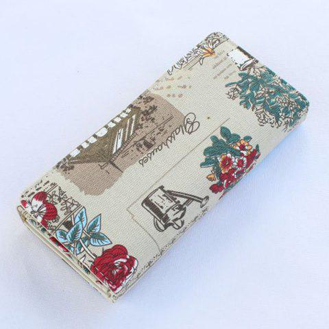 Store Flap Printed Canvas Wallet - GREY WHITE  Mobile