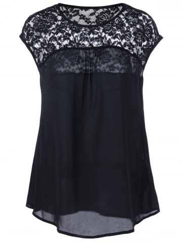 Latest Lace Insert Cap Sleeve Blouse - M BLACK Mobile