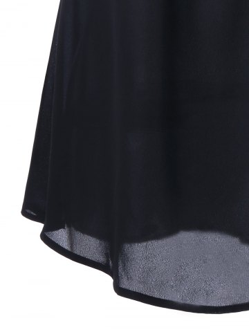 Fashion Lace Insert Cap Sleeve Blouse - M BLACK Mobile
