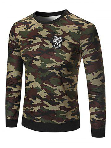 New Patch Design Camouflage Sweatshirt - XL DEEP GREEN Mobile