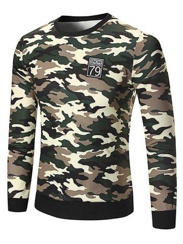 Buy Patch Design Camouflage Sweatshirt - Light Green 2XL