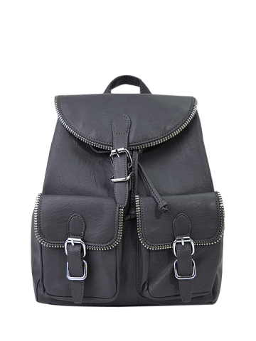 Store Zipper Front Pockets Buckles Backpack